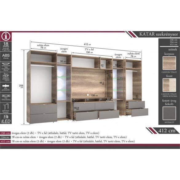 Katar 334 cm szekrénysor